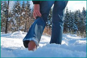 Хождение по снегу босиком