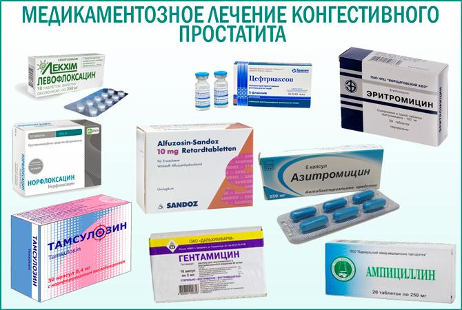 Застойный простатит: медикаментозное лечение