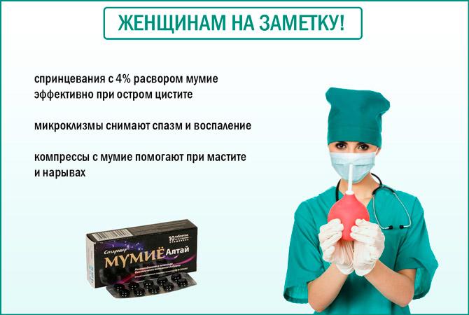 Микроклизмы с мумие при цистите