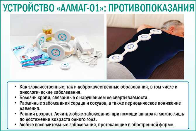 Противопоказания к применению устройства «Алмаг-01»