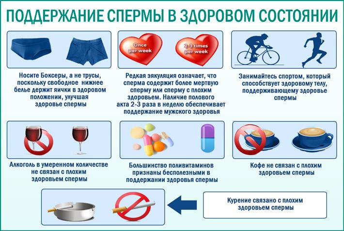 Семь условий поддержания спермы в здоровом состоянии