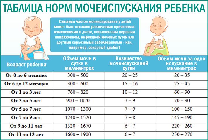 Показатели нормы мочеиспускания ребенка