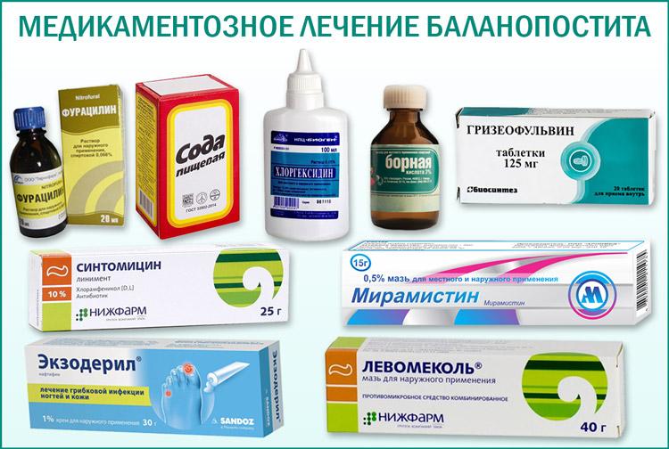 Лечение баланопостита медикаментами