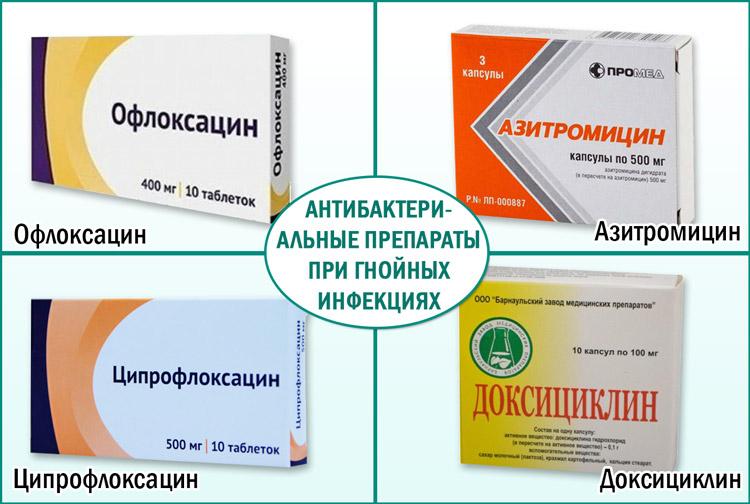 Антибактериальные лекарства при гнойных инфекциях